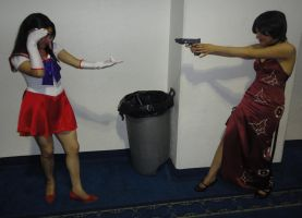 Sailor Mars vs. Ada Wong by Arakune-Yoru