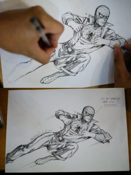 Drawing Spidey by wrathofkhan