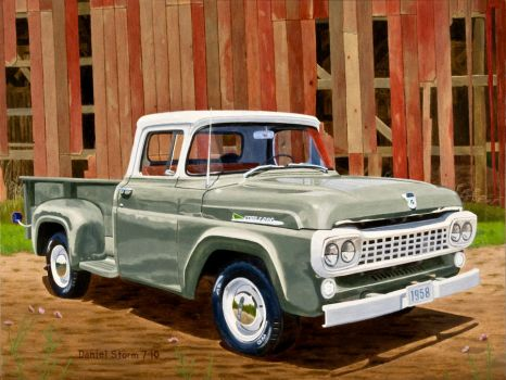 1958 Ford F250 In Oil by Daniel-Storm