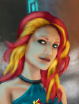 Shadowrun Sunset Shimmer (Commission) by Evil-DeC0Y