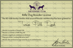 Rifle Dog Breeder's Liscence by TsonianFieldsRanch