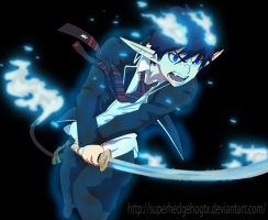 Okumura Rin blue flames by SuperhedgehogTX