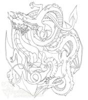 Dragon Yin-Yang Tattoo Design by rontufox