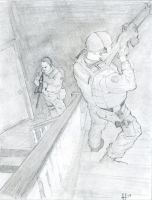 swat clearing stairs by amherman