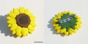Sunflower Pin by ChibiSilverWings