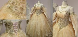 Champagne Peach Fantasy Bridal Gown by Lillyxandra