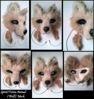 Spirit/Totem Animal (Wolf) Mask (light Brown) by WhisperingWoodCrafts