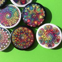 Mandala Badges Buttons Pins by Mandala-Jim