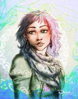 Texturized Sketch of a Girl by palnk