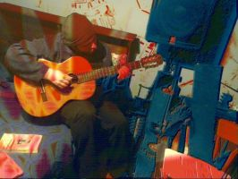 Jason with Classical Guitar (Red Grunge Version) by petebuck1