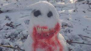 My snowman (close up) by shadowwolf133