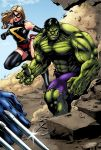 Hulk and Miss Marvel by logicfun