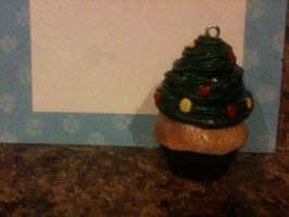 Polymer clay Christmas Tree cupcake! by muffinthehamster11