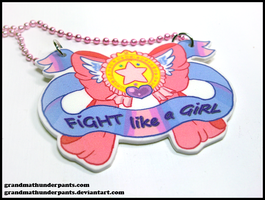 Fight like a Girl Necklace by GrandmaThunderpants