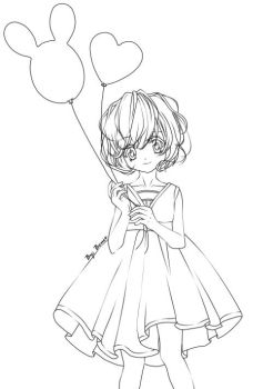 Line Art: Little girl with balloons by Cain2011