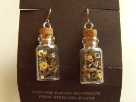 Steampunk bottle earrings by Hiddendemon-666