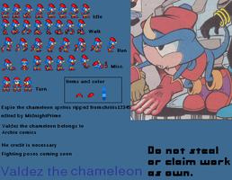Valdez the chameleon Sprites by MidnightPrime