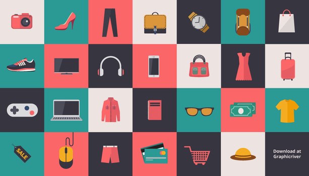 Fashion and Shopping Flat Icons by caffeinesoup
