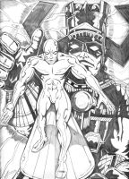 Silver Surfer and Galactus by Lpsalsaman
