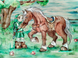 Link and Epona Children by darynoir