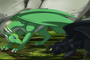 Emeriss and Toothless by starmixed