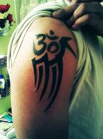 Om Symbol And Tribal Tattoo by ngoc50