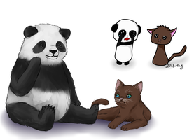 Panda and cat redraw by GriellaAnime
