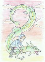 Rayquaza and Blair by bluemist72
