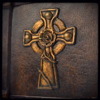 Hand carved Rosy Cross in thick leather... by alexlibris999