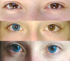 Neo Sunflower blue contacts comparison by OtheCleverPan