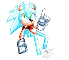 Sonic (color pencil practice) by MadnessWearsGlasses
