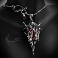 XINDHRALL - silver, red quartz and garnet by LUNARIEEN