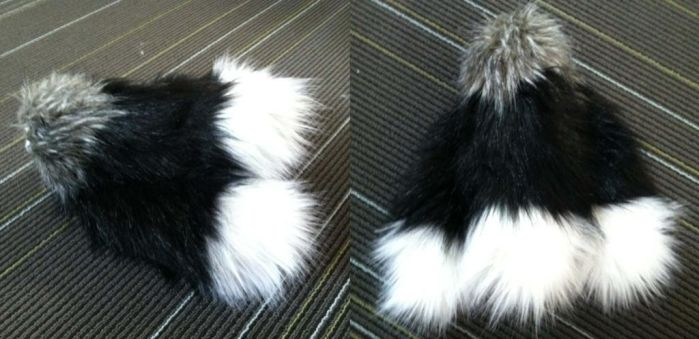 Extra-Fluffeh Silver Kitsune Triple Tail by plushabilities
