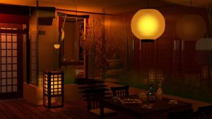 Japanese Restaurant - 3D Max Project by RenaRyuuguu