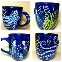The Deep - Spotted Octopus and Jellies Mug 4 sale by InkyDreamz
