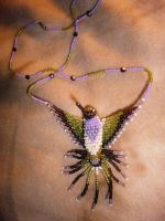 Purple-Throat Hummingbird Necklace by StarDapple