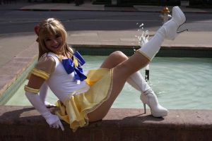 Sailor V kick by HollyGloha
