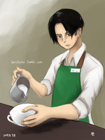 SNK: Barista Levi by qianying