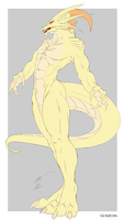Albino Dragon Anthro Form by GunZcon
