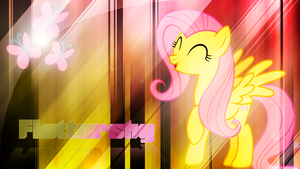 Fluttershy 'Woohoo' Wallpaper by BlueDragonHans