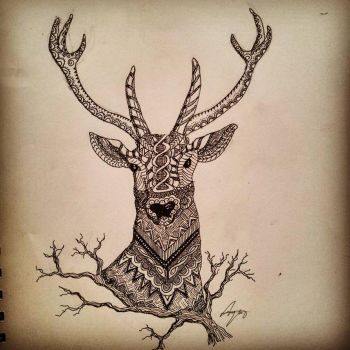 Zentangle Stag Head by miss-supernatural