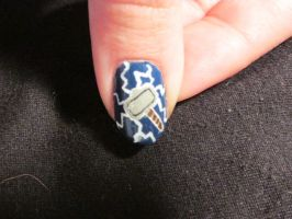 Mjolnir Nail Close Up by QueenAliceOfAwesome
