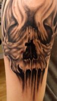 alan barbosa skull by alanbarbosatattoo