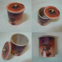 Wood Round Box Red Dawn by Alise-arts