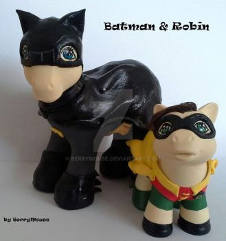 My little Pony Custom Batman and Robin by BerryMouse