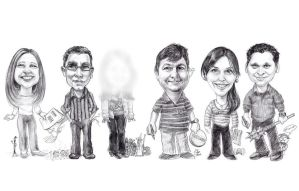 Group Caricature at my job by otas32