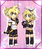 Len and Rin chibis...and doll Blair by gisselle50