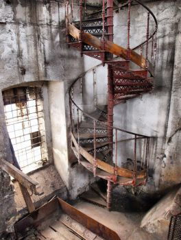rusty spiral staircase by Troubllemaker