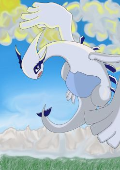 Lugia .:In The Sky:. by MarieCats