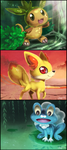PokemonXY Starters:  Chespin, Fennekin and Froakie by Jiayi